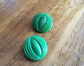 Green Vintage Glass Buttons - Two / 1930s Buttons / Cat Eye / Vintage Glass Buttons / Vintage Sewing Notions / Vintage Sewing Supplies