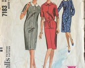 1960's Dress Pattern / Vintage Sewing Pattern / McCall's 7183 / Size 14 Bust 34 / Simple Dress Pattern / Sheath Dress Pattern / Shirt Dress