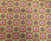 Vintage Fabric / Checkered Fabric / Cotton Fabric / 1 2/3 Yards / Pink Orange Yellow / Fabric by Yard / 60s 70s Fabric / Square Print Fabric