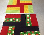 "Adorable Vintage Handmade Quilt Squares - 13"" x 13"" (set of 3)"