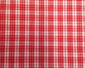 Vintage Red and White Cotton Plaid - 1 Yard / Cotton Fabric / Geometric Print / Stripes / Quilting Cotton / Plaid Print / Stripes Fabric