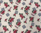 Vintage Fabric / Blue Floral Fabric / Vintage Cotton Fabric -1 1/2 Yards- Rose Fabric / 1950s Fabric / Pink Blue Flower Fabric / Rose Print