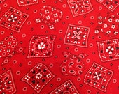 Vintage Fabric / Handkerchief Fabric / Faux Patchwork - 1 Yard - Red Black White / Red Fabric / Red Paisley Fabric / 1970s Fabric