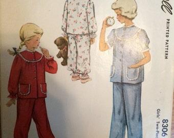 9c320a6fd7 Toddler Pajama Pattern   Vintage Sewing Pattern   Girl s Pajama Pattern    McCall 8306   Sz 2 Bust 21   Vintage Pajama   1950s Fashion