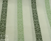 White and Green Stripe Cotton Fabric - 1 Yard - Cotton Stripe / Green and White / Quilting Cotton / Vintage Stripe / Striped Fabric