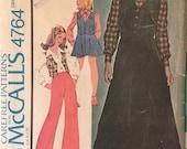 Vintage Sewing Pattern / McCall's 4764 / Girl's Vest / Girl's Blouse / Girl's Skirt / Girl's Pants / Size 8 Bust 27 / 1970s McCall's