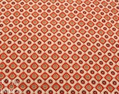 Red and White Printed Fabric -1 Yard- Cotton Fabric / Red and White Fabric / Diamond Fabric / Red Floral Fabric / Diamond Print Cotton