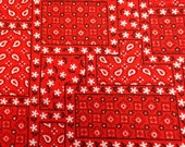 Vintage Fabric / Handkerchief Fabric / Faux Patchwork - 1 7/8 Yards - Red Black White / Red Fabric / Red Paisley Fabric / 1970s Fabric