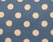 Acetate Fabric / Vintage Fabric / Blue White Polka Dot Fabric -1 5/8 Yards- 1950s Fabric / Blue Fabric / Polka Dots / Garment Fabric