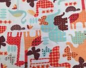 Giraffe Print Flannel / Animal Flannel / Zoo Animals / 1 Yard / Cute Flannel / Orange Flannel / Printed Flannel / Kid's Flannel / Elephants