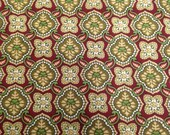 Small Print Cotton Fabric - 7/8 Yard - Burgundy & Green / Tile Print / Red Green Tile / Repeat Print / Quilting Fabric / Quilt Print