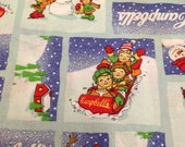 Campbells Kids Christmas Fabric / 1 yard / Snowflake Print Fabric / Christmas Fabric / Blue Christmas Fabric / Campbells Soup / Childrens