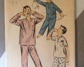 """Boy's Pajama 1950s Vintage Advance Pattern 7003 Size 6 Chest 24"""" - 1950s Advance / 50s Advance / 19 50s Sewing Pattern"""