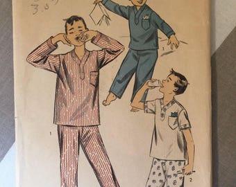 84e5a3154e Boy s Pajama 1950s Vintage Advance Pattern 7003 Size 6 Chest 24