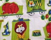 Vintage 1960s Circus Animal Printed Cotton - 2/3 Yard -  Fabric Yardage / Circus Fabric / Circus Animals / Circus Print / 60s Kids Print