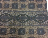Vintage 1950s Brown and Blue Border Print Cotton - 2 3/8 Yards - Fabric Yardage / Fabric Yardage / Cotton Fabric/ 1950s Fabric / 50s