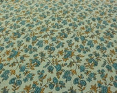 Green, Teal, and Gold Floral Fabric - 1 Yard - Green Floral / Cotton Fabric / Quilting Fabric / Quilting Cotton / Flowers and Leaves