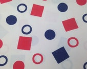 Red White Blue Geometric Fabric - 1 Yard -  Heavy Cotton / Vintage Fabric / 100% Cotton / Vintage Cotton / Shape Print / Geometric Print