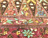 Vintage Burgundy Multi Color Floral Batek Tribal Cotton / 1 Yd / Batek Malaysia BHD / Floral Print / Cotton Floral / 1970's Fabric / Hippie