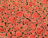 Metallic Heart Printed Cotton - 1 Yard - Fabric Yardage / Fabric Yardage / Cotton Fabric /Heart print / Heart Fabric / Black Red / Red Gold