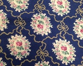 1950s Vintage Blue Lacy Floral Fabric 7/8 Yard / Cotton Fabric / 1950s Fabric / Blue Pink White  / Bows / Pink flowers / Vintage Cotton