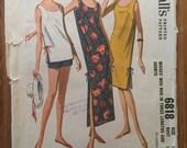 Vintage Sewing Pattern / Muu Muu Pattern / McCall's 6818 / 1960s Sewing Pattern / Size 14 Bust 34 / Vintage McCalls Pattern / Shorts Pattern