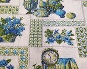 Vintage Fabric / Kitchen Fabric / Cotton Fabric / 1 Yard / Blue Green / Fabric Yardage / Fruit Fabric / Food Fabric / 1960s Fabric