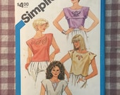 Cutwork Blouse / Vintage 1980s / Simplicity 6409 / Cutwork Pattern / Size 10 12  / Embroidered Blouse / 1980 Blouse / 80s Blouse Pattern