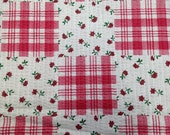 Vintage 1970s Faux Patchwork Cotton Fabric - 1 Yard - Printed Plisse / Vintage Yardage / Cotton Fabric / Pink Rose Fabric / Red Floral