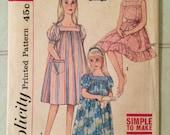 Girl's Nightie 1960s Simplicity Pattern #3938 Sz 4 Bust 23 - Vintage Simplicity / 60s Simplicity / 60s