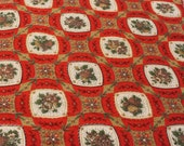 Vintage Fabric / 1960's Fabric / Red Fabric -1 1/2 Yards- Cotton Fabric / Red Gold / Fruit Fabric / Rose Fabric / Tile Fabric / Apple Fabric