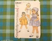 Vintage Sewing Pattern / Simplicity Dress Pattern /Simplicity 5847 / Toddler Size 1 / Breast 20 / Smocked Dress / 1960s / QUICK LIST