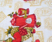 Vintage Kitchen Fabric / Vintage Fabric / Border Print / Coffee Fabric - 1 Yard - Fruit Fabric / Red Gold / Cotton Fabric / 1960s Fabric