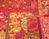 Orange Red Yellow Floral Patchwork Fabric - 1-1/4 Yards - Cotton Fabric / Screenprinted Fabric / Floral Fabric / Flower Fabric / Univtex