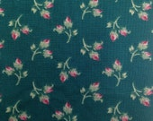 Teal and Pink Floral Fabric by P.S. Designs - 1 Yard / Pink Floral / Cotton Fabric / Quilting Fabric / Quilting Cotton / Flowers and Leaves