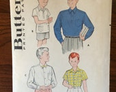 "Boy's 1950s Butterick Shirt Pattern #5839 Size 10 Neck 12"" - 1950s Butterick / 50s Butterick / 19"