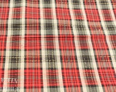 Vintage Fabric / Plaid Fabric / Red Black - 1 Yard -  Plaid Cotton / Cotton Fabric / Red Cotton / Plaid Cotton / Red White Black