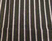 Vintage Flannel Fabric / Striped Flannel / Vintage Fabric - 1 Yard - Black Flannel / Pajama Fabric / Black White Flannel / Cotton Flannel