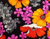 Vintage Fabric / Floral Fabric / Poppy Fabric - 1 Yard - Black Pink Orange / Poly Cotton / 1970s Fabric / 1970s Floral / Flower Fabric