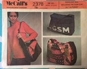 Vintage Shoulder Bag Pattern / 1970s McCall's 2378  - With Letters - UNCUT - Gym Bag Pattern / Luggage Pattern / 1970s Accessories