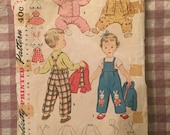 Vintage Sewing Pattern / Toddler Overalls Pattern / Toddler Jacket Pattern / Toddler Bonnet Pattern / Simplicity 4417 - Size 6 months