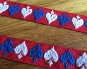 Vintage Embroidered Trim -1 Yard- Cotton Trim / Vintage Trim / Red White Blue Trim / Heart Trim / Spade Trim / Red Trim / Vintage Edging