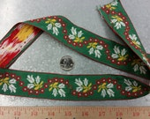 Vintage Embroidered Trim -3/4 Yard CUT- Cotton Trim / Floral Trim / Vintage Trim / Green Trim / Vintage Edging / Red and Green Trim