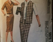 "Vintage 1960 McCall's Misses' One Yard Separates Pattern #5975 Size 13 Bust 33""  Vintage McCall's Pattern / 60s McCall's /"
