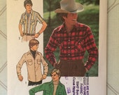1970s Men's Pattern / Men's Shirt Pattern / Simplicity 7698 / Chest 42 Neck 16 / Western Shirt Pattern / Yoked Shirt Pattern / Snap Front