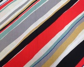 Stripe Fabric / Cotton Fabric / Medium Weight Cotton -1 1/2 Yard - Diagonal Stripe / Grey Red Black Blue / Quilting Fabric / Mid Century