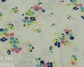 Floral Fabric / Cotton Fabric -1 Yard - Pink Blue Floral Print Fabric / White Fabric / Pink and Blue Fabric / Navy and Pink Floral