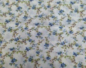 Blue Floral Fabric / Vintage Fabric / Cotton Fabric -1 Yard- Fabric Yardage / Floral Vine Fabric / Lightweight Fabric / Lightweight Cotton