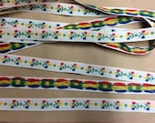 Vintage Embroidered Trim -1 Yard- Cotton Trim / Floral Trim / Vintage Trim / Floral Embroidered / Blue Red Yellow / White Trim