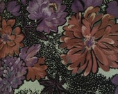 Vintage Fabric / Vintage Floral Fabric / Cotton Fabric - 1 Yard - 1960s Fabric / 1960s Floral / Black White Purple / Vintage Flower Fabric
